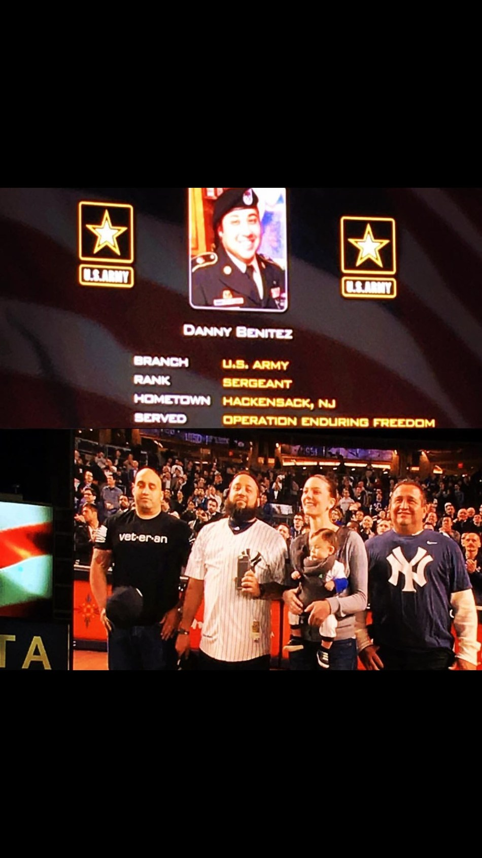 The New York Yankees honor Wounded Warrior Project veteran Danny Benitez at a game in Yankee Stadium. Warriors to Work helped prepare Benitez for his career search before he landed a job seeking out brains for research.