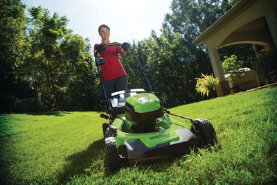 """Greenworks Pro 60-volt 21"""" Mower, part of the innovative new line of battery-powered outdoor equipment, provides the perfect combination of power and efficiency to make yard work more enjoyable."""