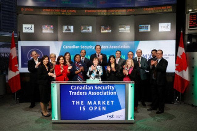 Rizwan Awan, Canadian Security Traders Association, Inc., Chair joined Graham Mackenzie, Senior Acount Manager, Equities, TMX Group to open the market to kick-off the CSTA Annual Vendor Fair. Formed in 2000, the Canadian Security Traders Association (CSTA) serves as a voice for nearly 850 equity traders in Canada and works alongside its American counter parts. The Board of Governors is committed to industry advancement through regulatory input, continuing education, and collaboration. The CSTA Annual Vendor fair takes place on February 23 at the Design Exchange in Toronto and the annual conference will be held in Ottawa in August 2017. For more information, please visit https://www.canadiansta.org/ (CNW Group/TMX Group Limited)