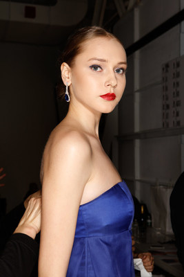 Shop LC earrings on model at Zang Toi Fashion Show