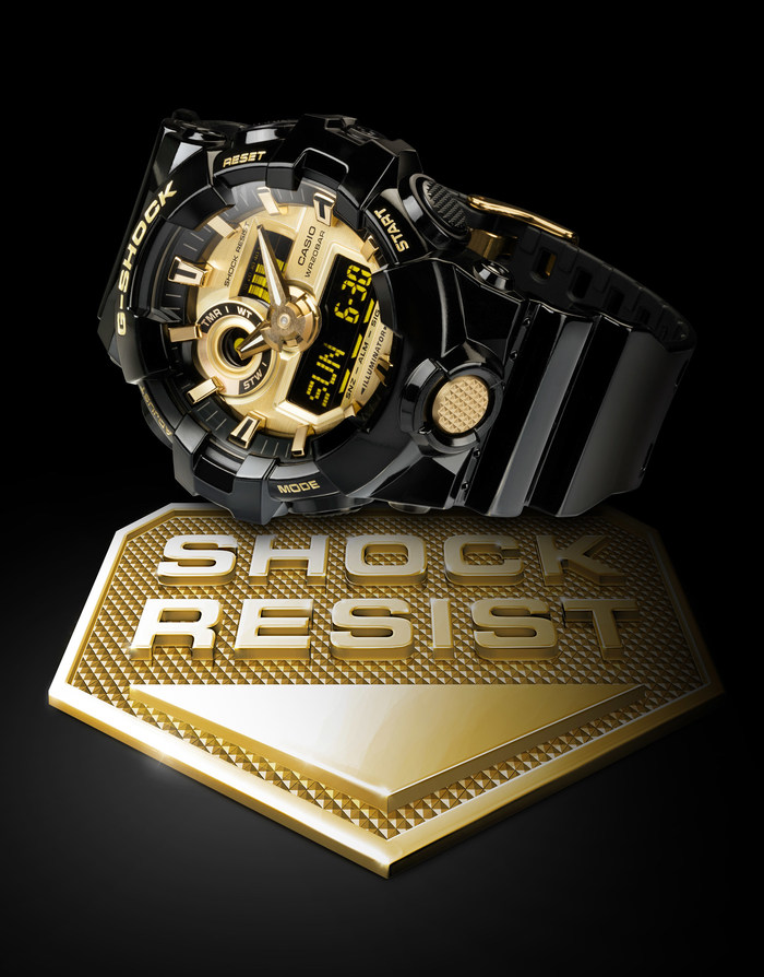 The GA710GB-1A in glossy black with gold IP front button and buckle, part of the new Garish Color Series.