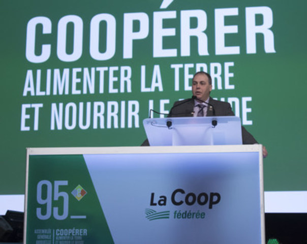 Ghislain Gervais, president of La Coop fédérée, speaks to members and guests at the 95th General Annual Meeting of La Coop fédérée, Thursday, February 23 2017, in Quebec City. (CNW Group/La Coop fédérée)
