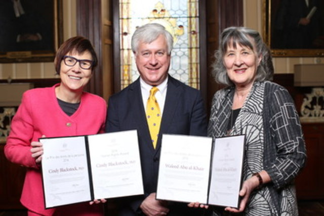 Law Society Treasurer Paul B. Schabas congratulates the recipients of the Law Society's 2016 Human Rights Award: Cindy Blackstock, PhD (left), and Lawyers' Rights Watch Canada Executive Director Gail Davidson (right), who accepted the award on behalf of human rights defender and activist Waleed Abu al-Khair, who has been imprisoned in Saudi Arabia since 2014 for his human rights activities. Dr. Blackstock and Abu al-Khair both received the award at a special ceremony in Toronto on February 22,  in recognition of their outstanding contributions to the advancement of human rights and the promotion of the rule of law provincially, nationally and internationally. (CNW Group/The Law Society of Upper Canada)