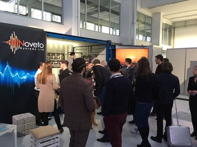Long queue formed outside Noveto's booth, waiting to experience the private sound technology