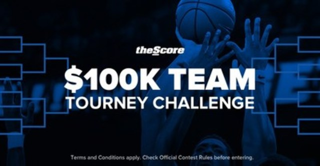 Launching soon, theScore $100K Team Tourney Challenge adds a unique new social element to bracket-picking. (CNW Group/theScore, Inc.)