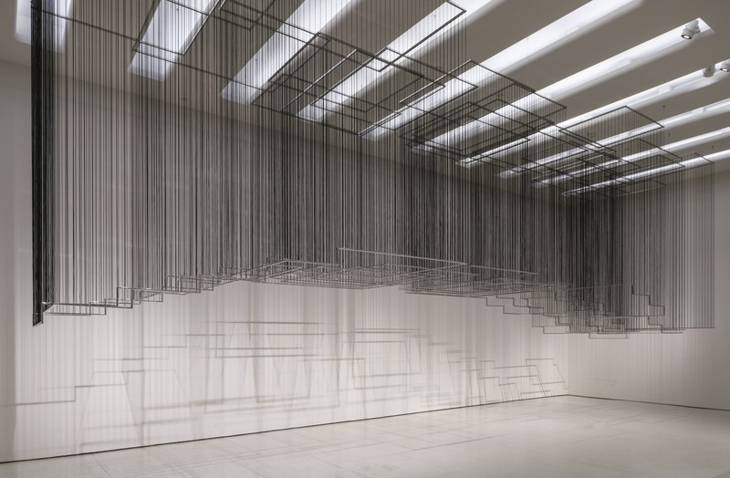 Nadia Kaabi-Linke, Flying Carpets, 2011. Stainless steel and rubber, 420 cm x 1300 x 340 cm, Solomon R. Guggenheim Museum, New York, Guggenheim UBS MAP Purchase Fund, 2015. Installation view: But a Storm Is Blowing from Paradise: Contemporary Art of the Middle East and North Africa, Solomon R. Guggenheim Museum, New York, April 29-October 5, 2016. Photo: David Heald (PRNewsFoto/Solomon R. Guggenheim Foundation)