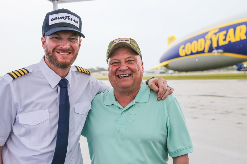 Dale Earnhardt Jr. trades in his racing gear for a pilot uniform to deliver an unforgettable experience for Vietnam and Gulf War veteran Paul Siverson near Daytona Beach, Fla., Wednesday, Feb. 22, 2017. (Gary Lloyd McCullough for Goodyear)