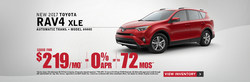 The 2017 Toyota RAV4 XLE is part of Serra Toyota of Decatur's current lease offerings. These lease offers give shopper greater incentives to get into new Toyota vehicles.