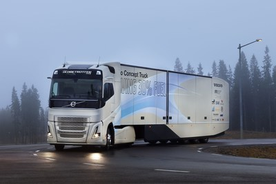 By combining a hybrid powertrain with improvements in aerodynamics, rolling resistance and reduced weight, the Volvo Concept Vehicle can reduce fuel and emissions by around 30 per cent. (PRNewsFoto/Volvo Trucks)