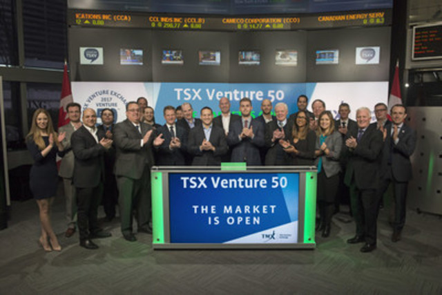The 2017 TSX Venture 50 companies joined Brady Fletcher, Managing Director, TSX Venture Exchange to open the market. The TSX Venture 50 is an annual ranking of top performing companies from five sectors: Clean Technology & Life Sciences, Diversified Industries, Mining, Oil & Gas, and Technology. The 2017 TSX Venture 50 was determined based on equal weighting of the following measures: market capitalization growth, share price appreciation and trading volume. See a complete list of winners here: www.tsxventure50.com (CNW Group/TMX Group Limited)