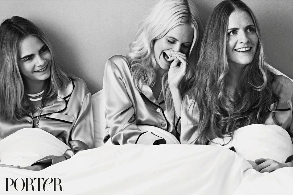 The Delevingne sisters wear pajamas by Olivia Von Halle, photographed by Bjorn Iooss for PORTER. All items can be purchased directly off the pages of PORTER magazine either by scanning the item with the NET-A-PORTER shopping app or by purchasing the PORTER digital edition at https://itunes.apple.com/gb/app/porter-magazine-uk/id803076371?mt=8 (PRNewsFoto/PORTER, powered by NET-A-PORTER)