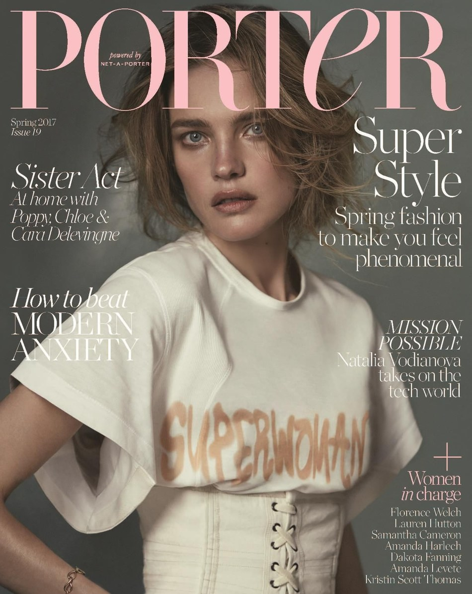 Natalia Vodianova wears top by Chloe and belt by Isabel Marant, photographed by Cass Bird for PORTER. All items can be purchased directly off the pages of PORTER magazine either by scanning the item with the NET-A-PORTER shopping app or by purchasing the PORTER digital edition at https://itunes.apple.com/gb/app/porter-magazine-uk/id803076371?mt=8 (PRNewsFoto/PORTER, powered by NET-A-PORTER)
