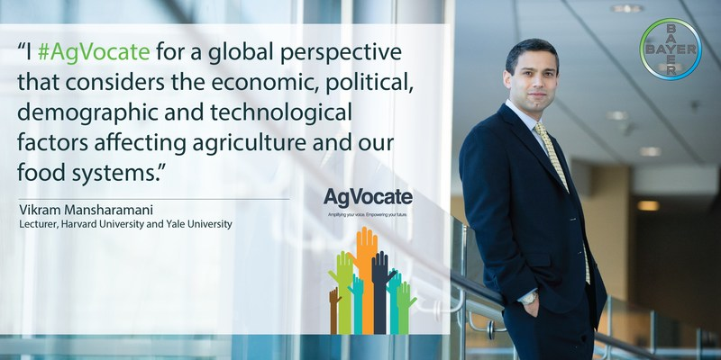 Dr. Vikram Mansharamani shows people how to anticipate the future, manage risk and spot hidden opportunities. Dr. Mansharamani will keynote the 2017 AgVocacy Forum, hosted by Bayer.