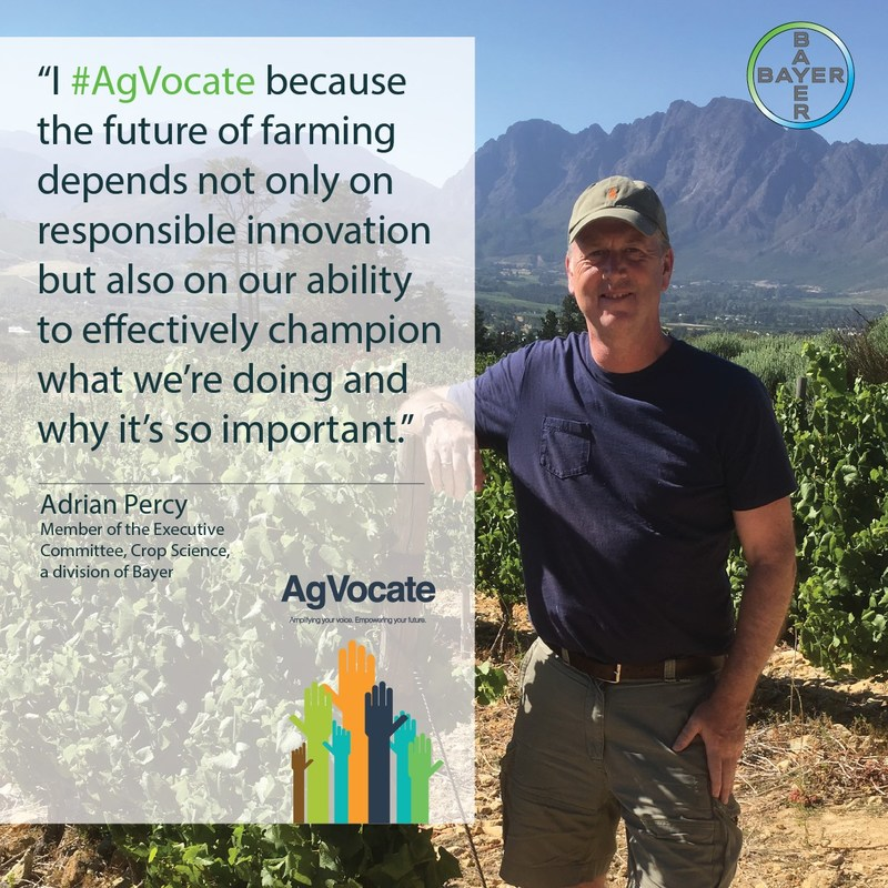 Dr. Adrian Percy, global head of research and development for Crop Science, a division, is one of the many speakers to be featured at 2017 AgVocacy Forum in San Antonio.