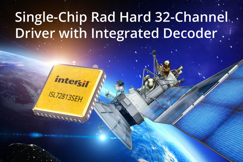 Intersil's highly integrated ISL72813SEH is a radiation hardened 32-channel driver with integrated decoder that reduces the size, weight and power (SWaP) of satellite command and telemetry systems.
