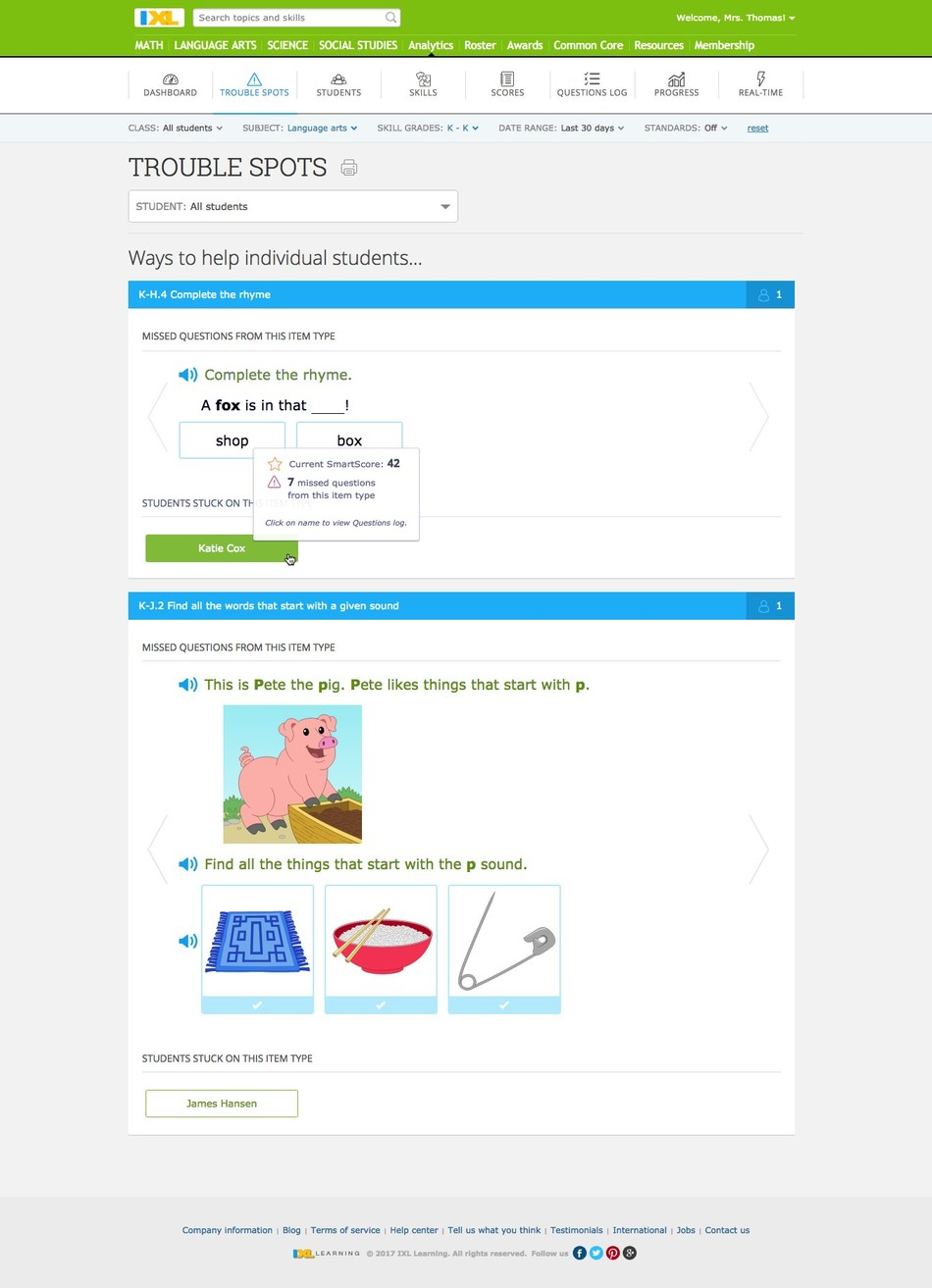 IXL Analytics helps educators take a deep dive into student performance by analyzing trouble spots, grouping students working on the same level, alerting teachers when students need more help, and more.