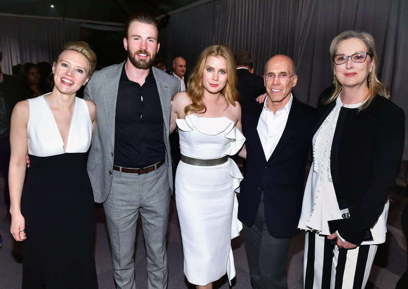 "LOS ANGELES, CA - FEBRUARY 25:  (L-R) Comedian Kate McKinnon, actors Darren Le Gallo and Amy Adams, CEO of DreamWorks Animation Jeffrey Katzenberg and actor Meryl Streep attend MPTF's ""The Night Before"" at Fox Studios on February 25, 2017 in Los Angeles, California."