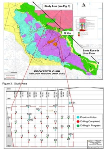Figure 2. - Plan View; and Figure 3. - Shows the distribution of the previous drillings and the current drilling program in the study area of the Santa Rosa de Lima Zone. (CNW Group/Sierra Metals Inc.)