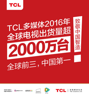 A high five to intelligent manufacturing in China as leading TV maker TCL's global TV shipments exceeded 20 million! (PRNewsFoto/TCL)