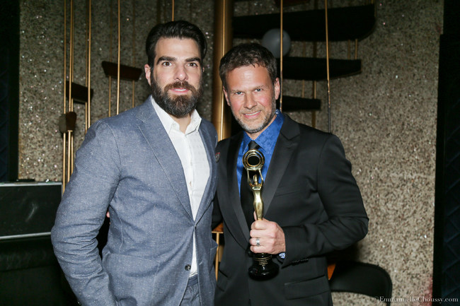 Zachary Quinto presented Outstanding Achievement in SFX Makeup Award to Joel Harlow.