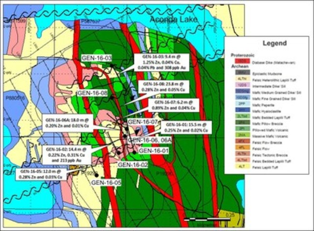Figure 2: Geology of Genex Property and location of collars of 2016 diamond drilling program with composite assay highlights. (CNW Group/International Explorers and Prospectors Inc.)