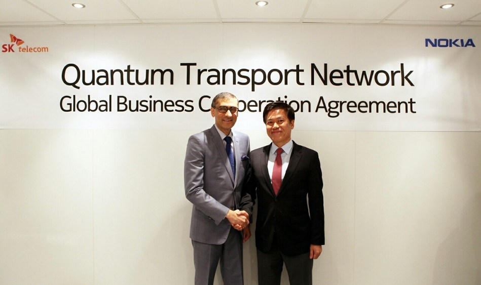 SK Telecom and Nokia entered into an agreement to cooperate in the quantum cryptography business at Mobile World Congress 2017 in Barcelona. Under the agreement, SK Telecom and Nokia will conduct joint research and development activities to achieve interworking between SK Telecom's Quantum Key Distribution System (QKD) and Nokia's optical transport system (Right) Park Jung-ho, CEO of SK Telecom, (Left) Rajeev Suri, CEO of Nokia