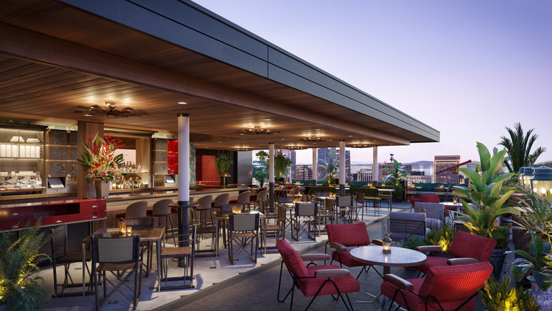 A Rendering of the Rooftop at Virgin Hotels San Francisco