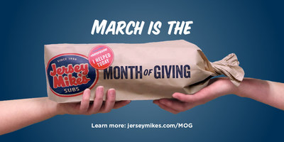 """During March, Jersey Mike's Subs is joining forces with nearly 150 local charities for the company's 7th Annual """"Month of Giving"""" fundraising campaign. It culminates on Day of Giving, March 29, when 100% of sales goes to the charities."""