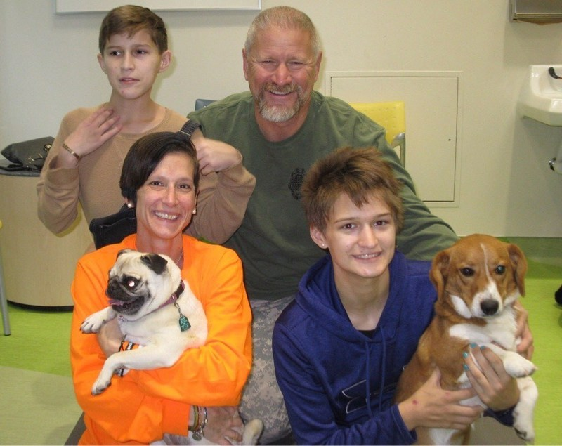 St. Louis Children's Hospital patients, Elias and Kristen, reunite with their family pets in the hospital's Purina Family Pet Center.