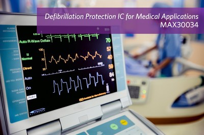 Maxim Integrated's MAX30034 defibrillation protection IC for medical applications