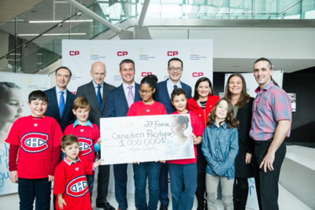 From left to right: Dr. Fabrice Brunet, The Honorable Michael M Fortier, Mr. Keith Creel, President and CEO of Canadian Pacific, Dr. Gregor Andelfinger, Ms. Maud Cohen, Ms. Janice Pierson, Mr. Richard Lanoue, Mher Mike Stepanian, Samuel Gauthier, Mariama Hawa Barry, Samy Touati, Tyler Lanoue and Olivier Boissonneault. (CNW Group/CHU Sainte-Justine Foundation)