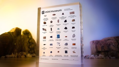 The Third Edition of the Mini Museum features 29 all new specimens, beginning with 4,557,000,000 year old space gems formed in the heart of an asteroid near the start of the solar system, and includes items from recent history such as the world's fastest airplane, the SR-71 Blackbird, and a piece of the Royal Wedding Cake of Prince Charles and Lady Diana. The 29 specimen version of the Mini Museum is $299 and a smaller, 12 specimen version is available for $129.