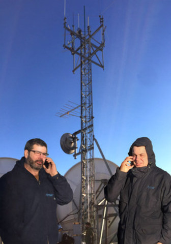Glen Gregory, TNW's COO & SVP Engineering and Maxime Brazeau, Head of IP solution at a TNW Wireless cellular site in Whitehorse, Yukon (CNW Group/TNW Networks Corp.)
