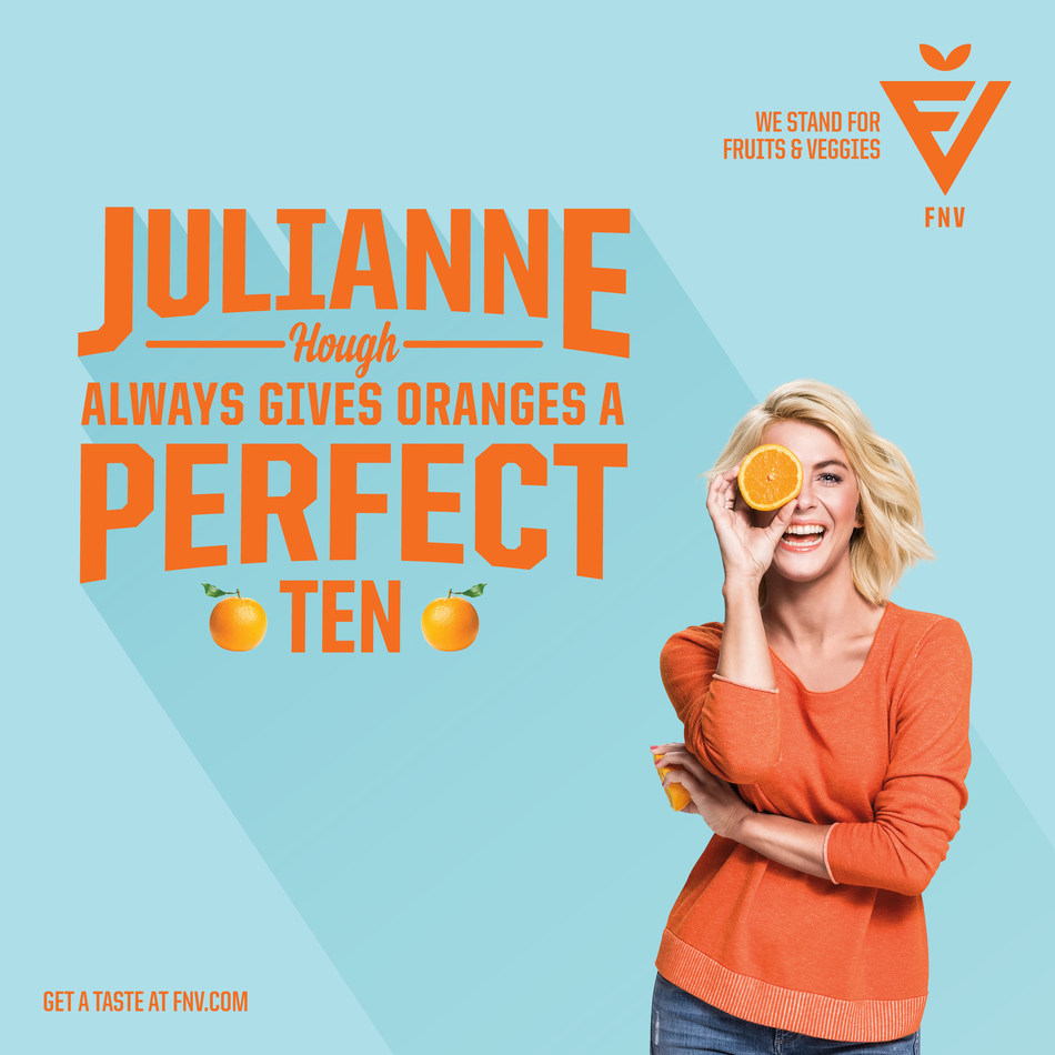 Julianne Hough gives oranges a perfect 10 in the celebrity packed FNV campaign. The campaign has brought together over 85 celebrities who are bringing their star power to fruits and veggies.