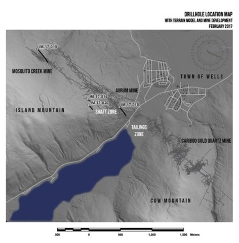 Drillhole location map, with terrain model and mine development, February 2017 (CNW Group/Barkerville Gold Mines Ltd.)