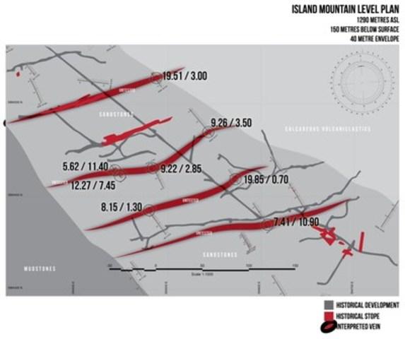 Island Mountain level plan, 1290 metres ASL, 150 metres below surface, 40 meter envelope (CNW Group/Barkerville Gold Mines Ltd.)