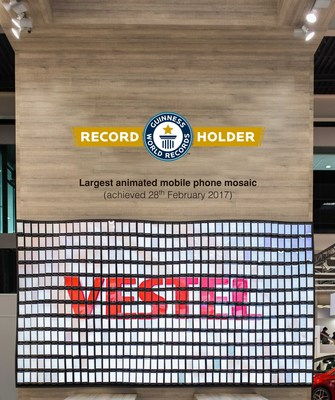 The World's Biggest Smart Phone Wall Has Been Built by VESTEL. Vestel broke Guinness World Record in terms of the largest animated mobile phone mosaic with its 500 special V3 5570 model smartphones. (PRNewsFoto/Vestel)