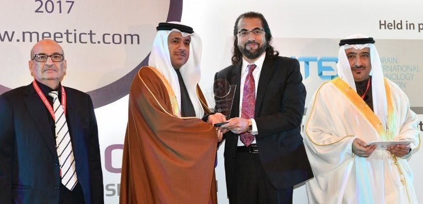 Mr. Asrar Mirza, CEO of CTM360, was presented the Cyber Security Company of the Year award by H.E. Kamal bin Ahmed Mohammed, Minister of Transportation & Telecommunications at MEETICT 2017 in the Kingdom of Bahrain (PRNewsFoto/CTM360)