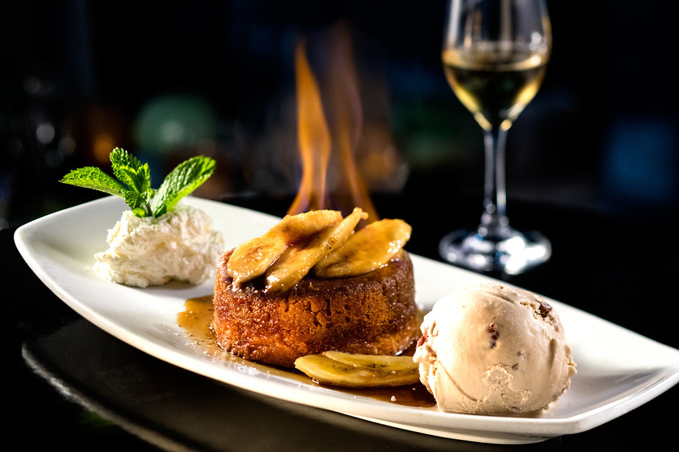 "Hot ""Bananas Foster"" Butter Cake with Butter Pecan Ice Cream"