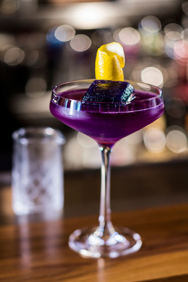 The Hope Diamond featuring Grey Goose, Combier Pamplemousse Rose Liqueur, Lemon, Pea Flower Tea, Diamond Ice Cube