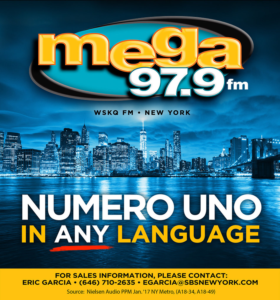 WSKQ-FM Mega 97.9FM Hispanic station ranks no. 1 in New York, across all formats and languages