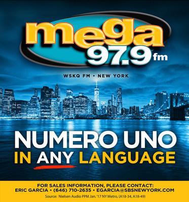 La estacion hispana WSKQ-FM Mega 97.9FM es la numero uno en Nueva York, en todos los formatos e idiomas