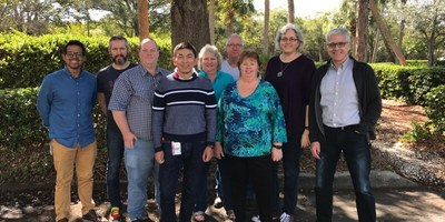 This photo of the 2017 board of directors was taken at a face-to-face meeting in Florida in February, 2017. Victor Hugo Germano (Treasurer, Brazil), Paul Hammond (Chair, England), Craig Smith (Australia), Juan Banda (Bolivia), Rebecca Parsons (Secretary, USA), Phil Brock (Managing Director, USA), Linda Cook (Executive Committee Member-at-Large, USA), Ellen Grove (Canada), Declan Whelan (Canada), (Stephanie Davis - Not Pictured) (PRNewsFoto/Agile Alliance)
