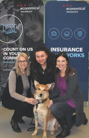 Maya, une ambassadrice de l'organisme de protection des animaux de Kitchener-Waterloo, a fait des yeux doux aux employés du siège social d'Economical à Waterloo pour les encourager à ouvrir leur portefeuille lors de la Journée nationale du petit gâteau. (Groupe CNW/Assurance Economical)