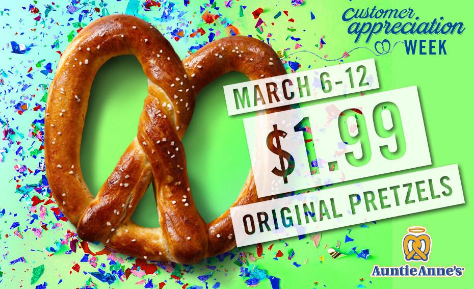 $1.99 Original Pretzels at Auntie Anne's During Customer Appreciation Week (March 6-12)