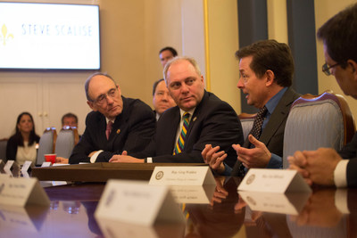 Michael J. Fox (second from the right) meets with bipartisan members of the House of Representatives on Capitol Hill in Washington, D.C., Tuesday, February 28, 2017. The Parkinson's patient advocate, actor and best-selling author met with lawmakers on behalf of his eponymous research foundation, discussing issues of critical importance to the more than 1 million Americans living with Parkinson's disease today -- including safeguarding federal research funding and ensuring access to health care. The meeting was part of The Michael J. Fox Foundation's 2017 Parkinson's Policy Forum, February 26-28, 2017, where more than 200 Foundation ambassadors -- mainly people with Parkinson's and caregivers -- representing 43 states came together to gain information and education on the current Parkinson's policy landscape and to share personal stories with their representatives in Congress. Credit: The Michael J. Fox Foundation / Joe Shymanski