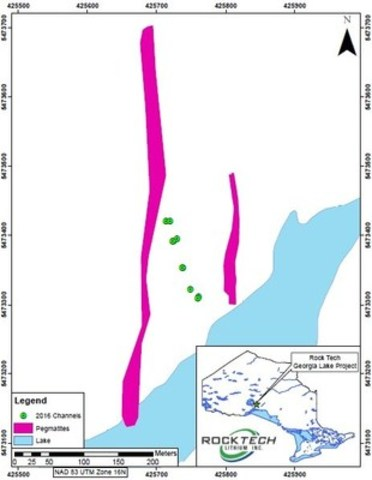 Channel Sample Locations (CNW Group/Rock Tech Lithium Inc.)
