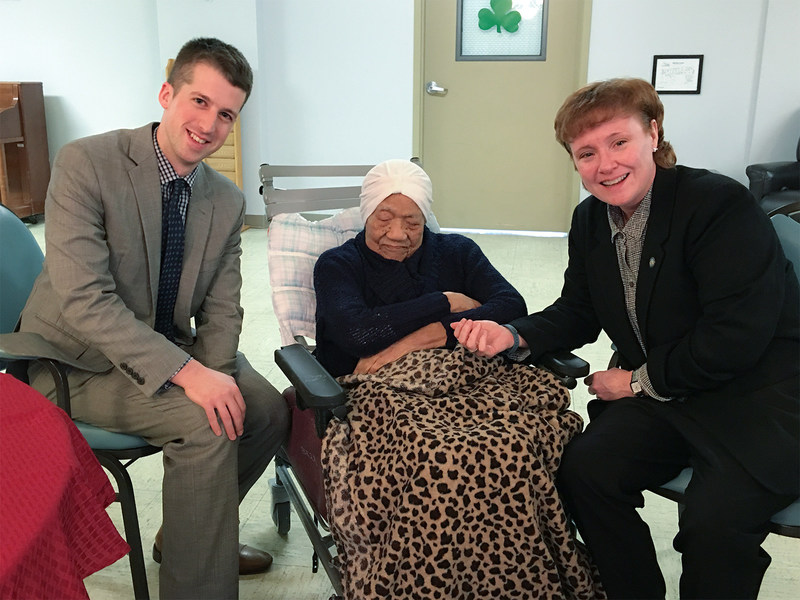 Dan Smedley, Pennsylvania Department of Aging; Delphine Gibson, Oldest American Resident; Teresa Osborne, Pennsylvania Department of Aging Secretary.
