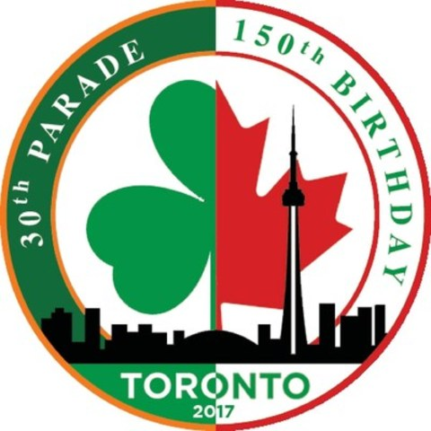 This year, the St. Patrick's Day Parade Society celebrates both the 30th anniversary of the parade and Canada's 150th anniversary, commemorated in this year's shamrock-maple leaf hybrid logo. (CNW Group/St Patricks Parade Society Of Toronto)