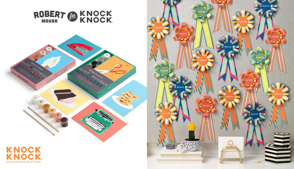 The Robert Mahar for Knock Knock collection features Office Supplies and Sweet Treats Paint-by-Number Kits, and Brave, Loved, Winner, and Cheers! Personal Award Ribbons. All are available on knockknockstuff.com.